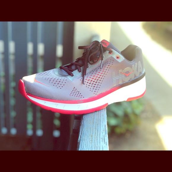 Hoka One One Cavu Charcoal Black White Red Running Tennis Shoes 9 11.5 1019281